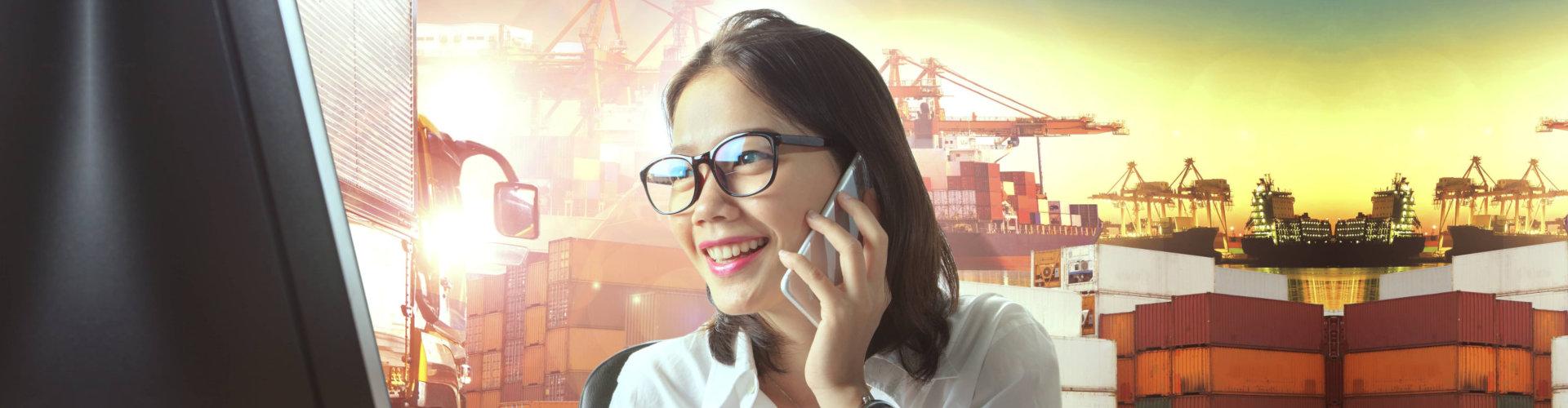 a woman answering calls
